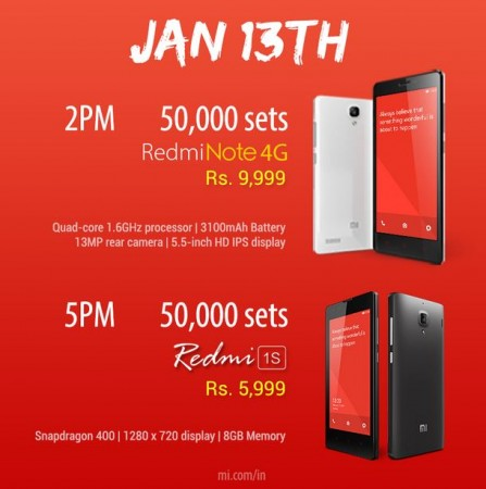 Xiaomi Redmi Note 4G, Redmi 1S Flipkart Flash Sale to Go Live on 13 January; 1 Lakh Units Up for Grabs