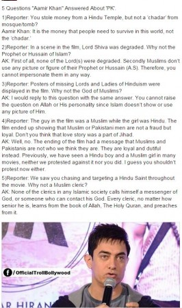 Aamir Khan PK fake interview