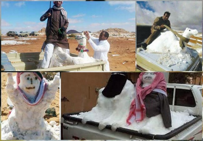 Saudi citizens enjoying snowmen in the northern part of the country