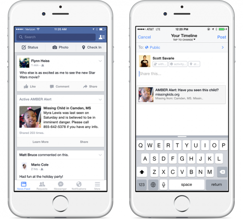 Facebook Helps Spread The Word On Missing Kids Through Amber Alerts