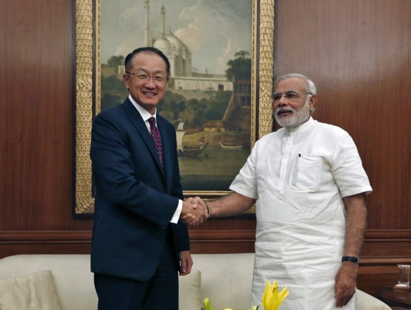 World Bank President Jim Young Kim and India's Prime Minister Narendra Modi