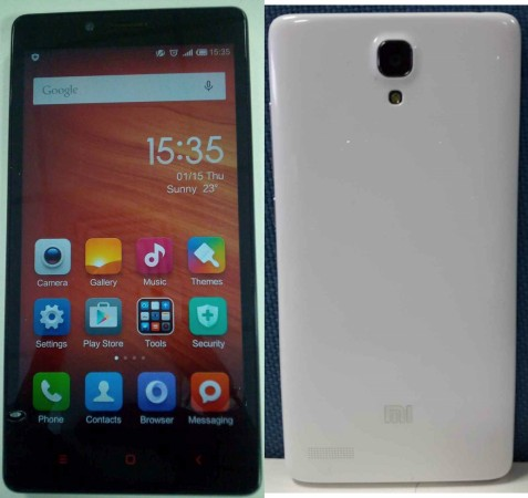 Xiaomi Redmi Note 4G Front and rear view