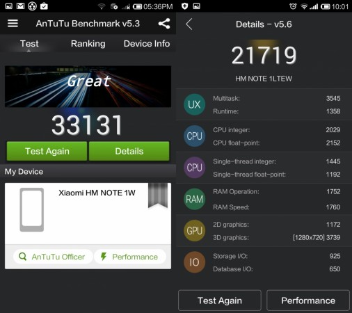 Benchmarking score comparison between Redmi Note 3G and 4G