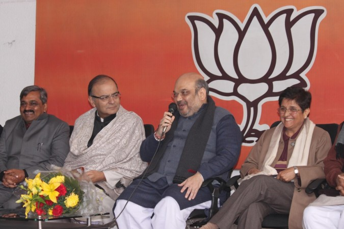 BJP chief Amit Shah and social activist Kiran Bedi during a programme organised to welcome Bedi in BJP on 15 January, 2015.   IANS