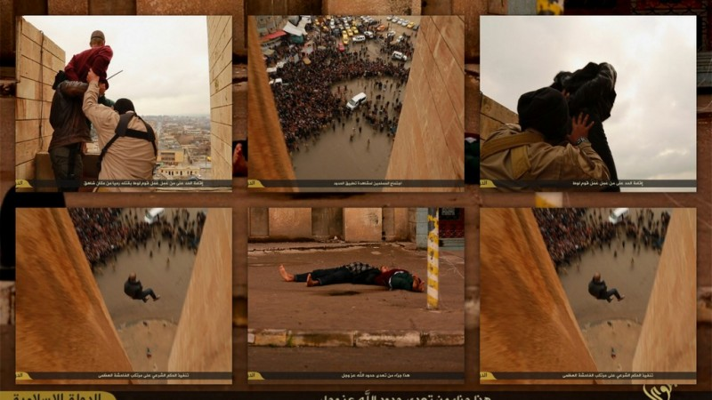 ISIS executioners throw two men charged for 'homosexuality' from a roof in Mosul,Iraq.