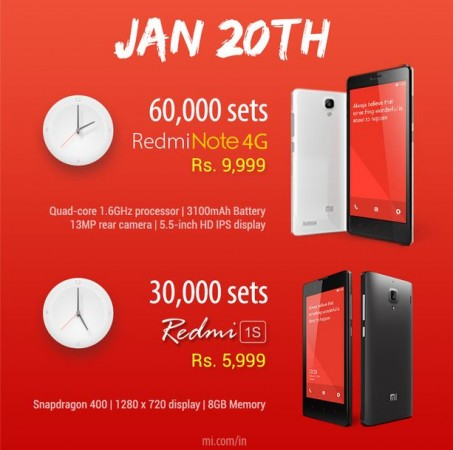 Xiaomi Redmi Note 4G, Redmi 1S Flash Sale to Kick-off on 20 January in India; More than 1 Lakh Units Up for Grabs
