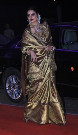 Rekha arrives for Kussh Sinha's reception party