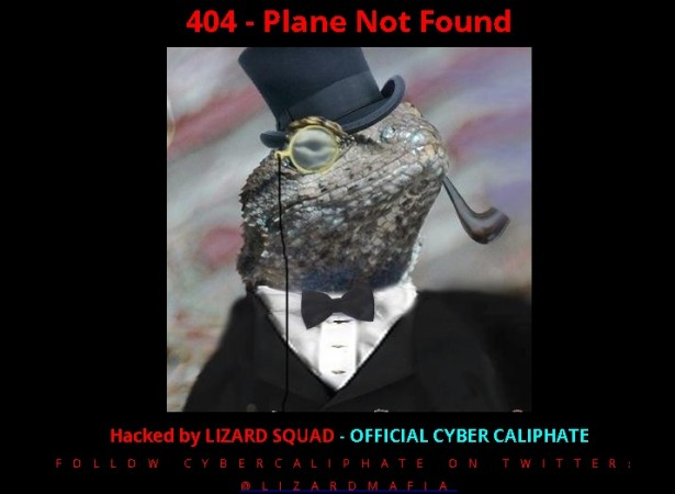 the homepage of the hacked website changed to a black background and presented a mocked-up image of a lizard with a top hat complete with a monocle and a smoking pipe.