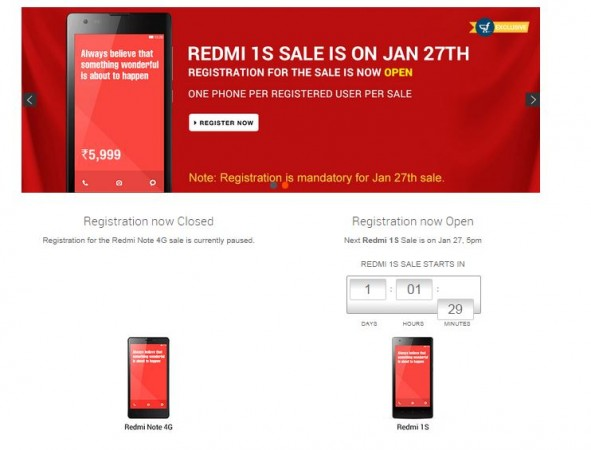 Xiaomi Redmi 1S Flipkart Flash Sale to Go Live on 27 January