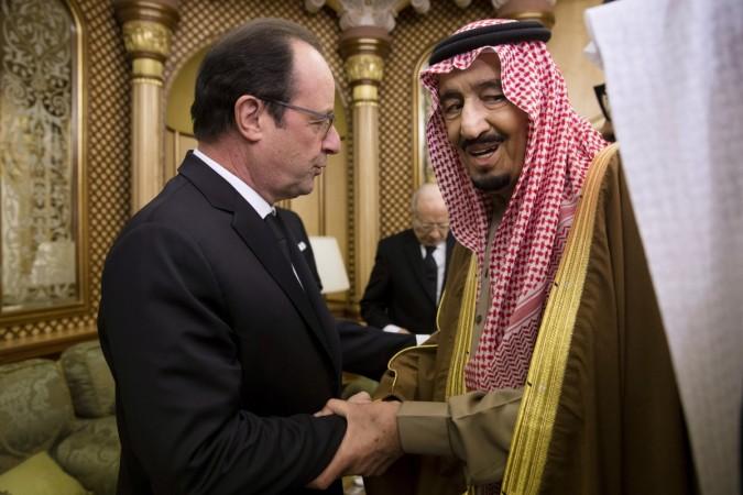 French President Francois Hollande with Saudi King Salman