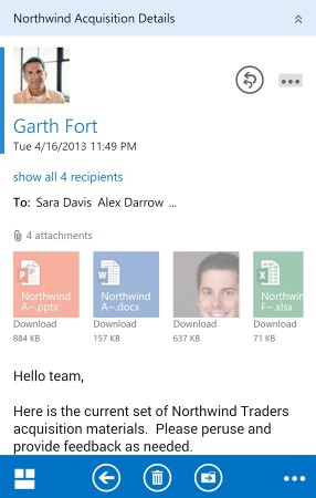 Interface of Microsoft Outlook OWA Android App