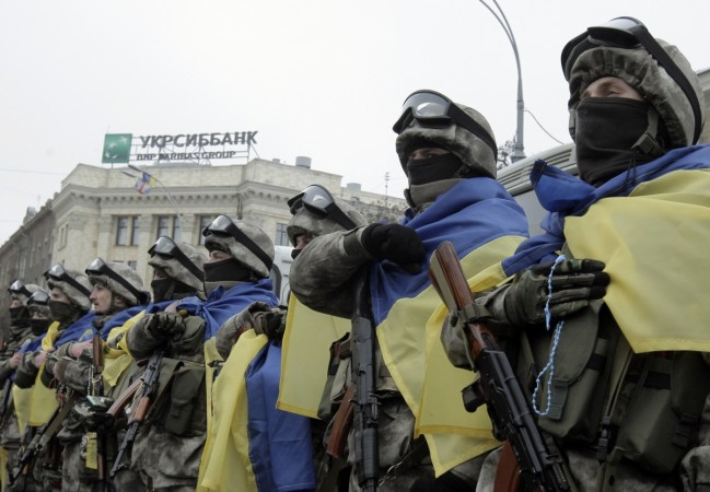 Members of a special unit of the Ukrainian armed forces line up before departing to take part in a military operation, during a farewell ceremony in Kharkiv, January 30, 2015
