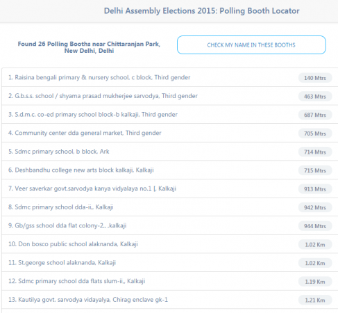 The Polling Booth Locator website by MapMyIndia