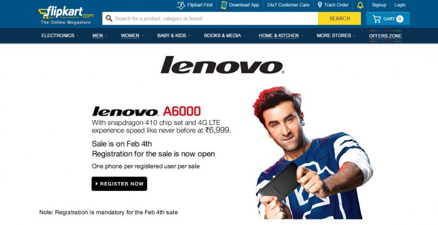 Lenovo A6000 Flipkart Flash Sale to Kick-off on 4 February; 20,000 Units Up for Grabs
