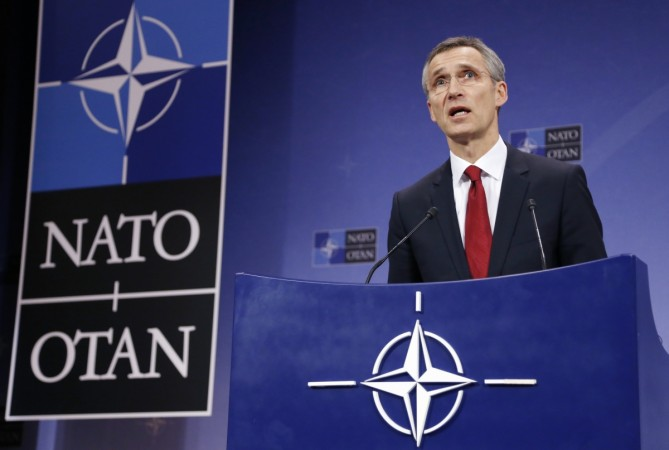 NATO Secretary General Jens Stoltenberg addresses a news conference during a NATO defence ministers meeting at the Alliance headquarters in Brussels February 5, 2015.