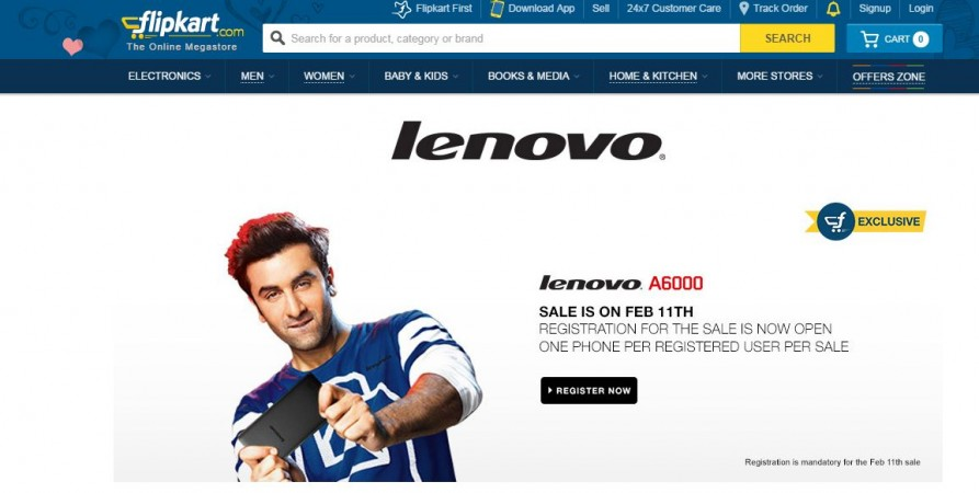 Lenovo A6000 Flipkart Flash Sale to Start on 11 February; 30,000 Units up for Grabs