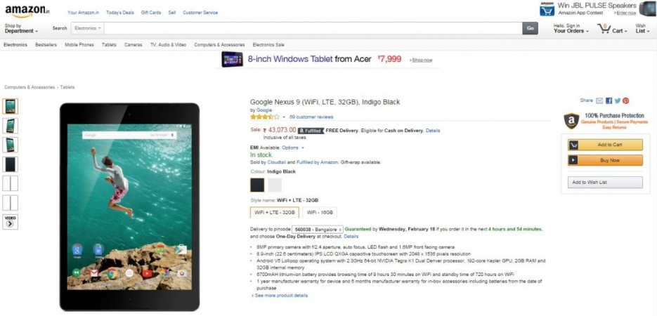 Google Nexus 9 LTE Model Goes on Sale on Amazon India; Price, Specifications