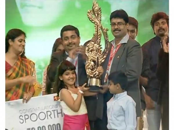 Spoorthi Receiving Super Singer Junior Season 4 Trophy