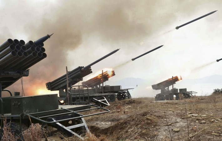 A view of artillery fire and landing exercises guided by North Korean leader Kim Jong Un (not seen) in this undated photo released by North Korea's Korean Central News Agency (KCNA) in Pyongyang February 21, 2015.