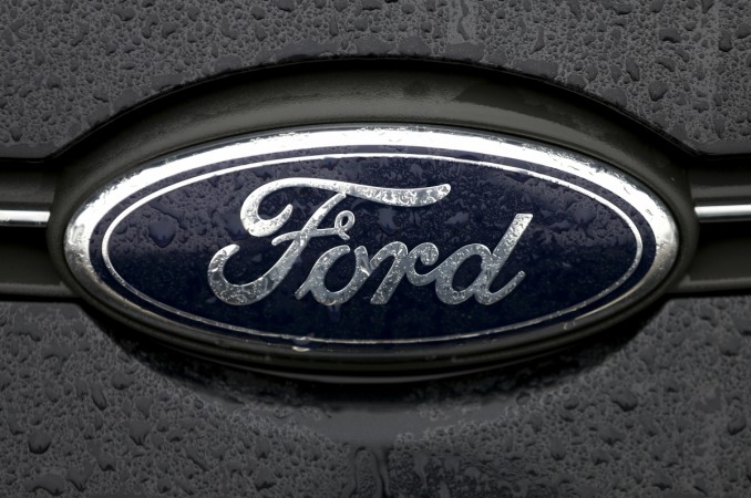 The Ford logo is pictured at the Ford Motor Co plant in Genk