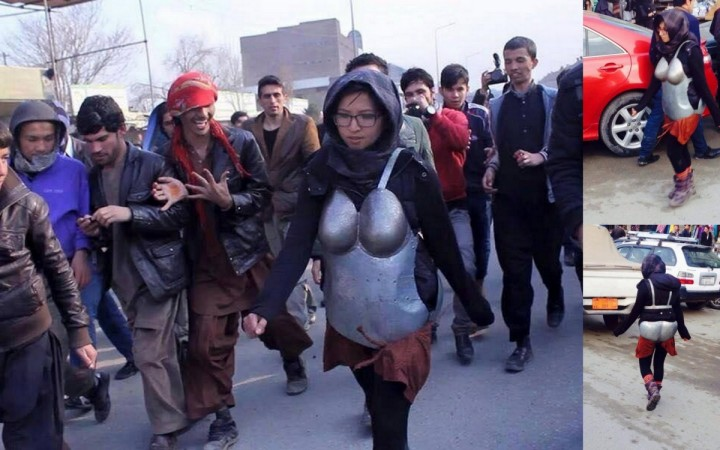 The images of the girl in the strange outfit has gone viral
