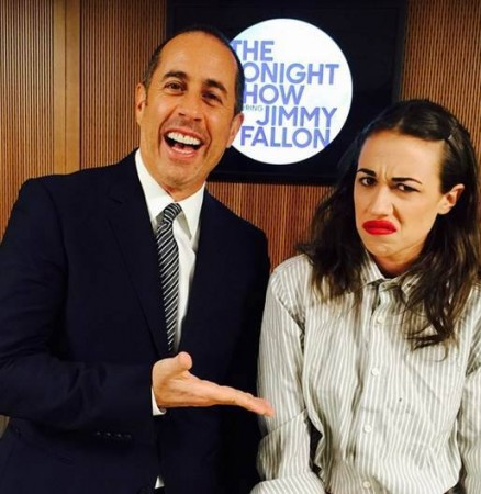 Jerry Seinfeld with Youtube star Miranda Sings at The Tonight Show with Jimmy Fallon