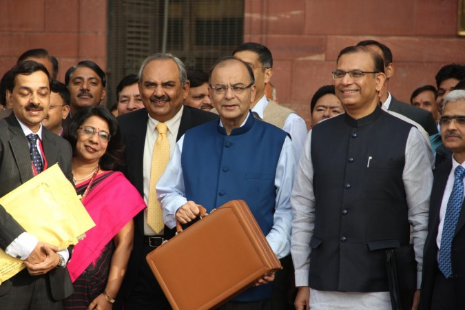 Finance Minister Arun Jaitley and Minister of State for Finance, Jayant Sinha along with the team at North Block before going to Parliament to present the Union Budget in New Delhi on Feb. 28, 2015.