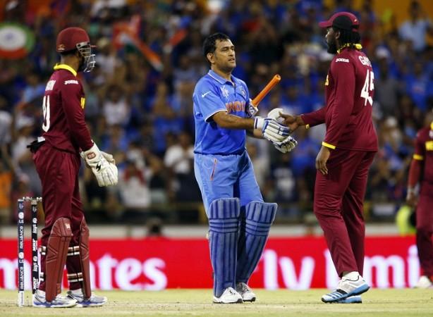 MS Dhoni India Chris Gayle Denesh Ramdin West Indies ICC Cricket World Cup 2015