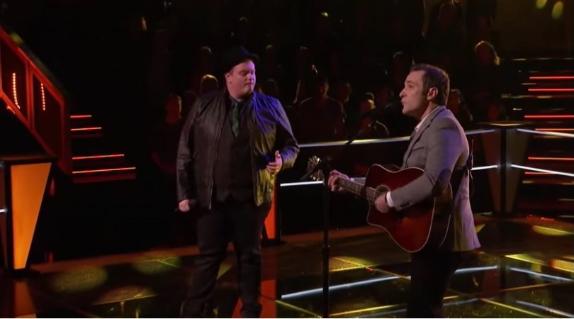 "Brian Johnson and Joshua Davis perform ""Knockin' on Heaven's Door"" on ""The Voice"" US Season 8."