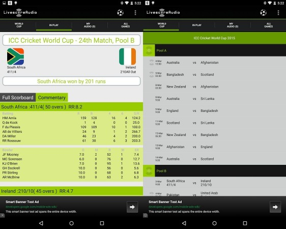 LivescoreAudio Android Interface