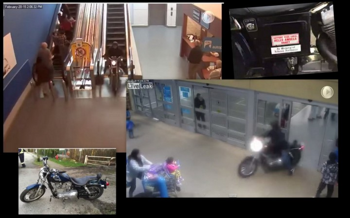 The video showing a motorcyclist on a Harley Davidson being chase by Canadian police through a shopping mall has gone viral.