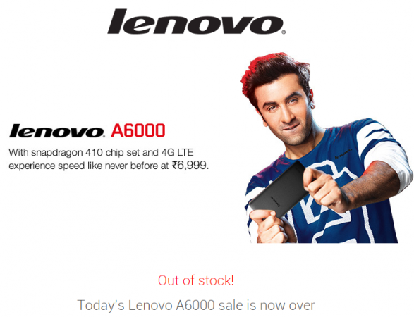 Lenovo Sold 1,80,000 units of A6000 after the completion of today's sale