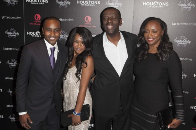 """Nick Gordon, Bobbi Kristina Brown, Gary Houston and Patricia Houston attend the opening night of """"The Houstons: On Our Own"""" in New York October 22, 2012."""