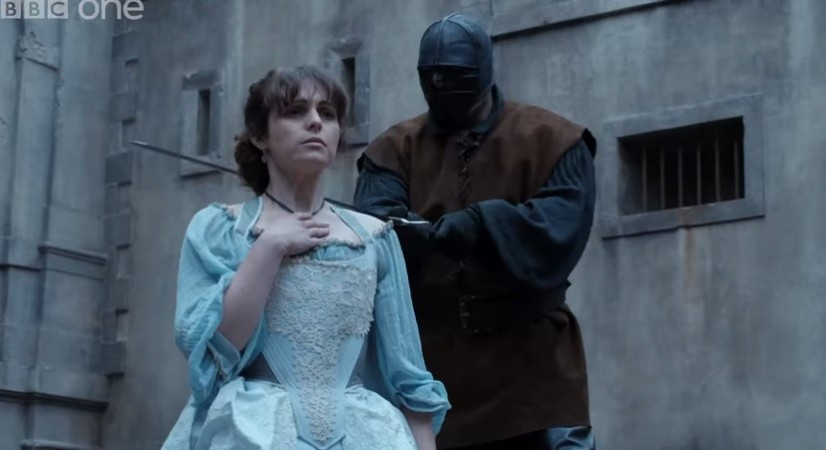 Constance about to be beheaded in 'The Musketeers'