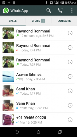 Whatsapp Call History Tab