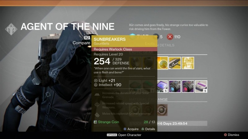 Destiny's Xur is back for the weekend