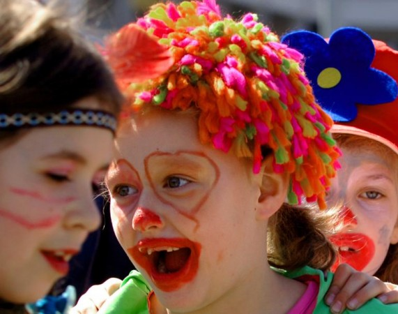 Children celebrate April Fool's Day in an annual parade in Skopje, Macedonia