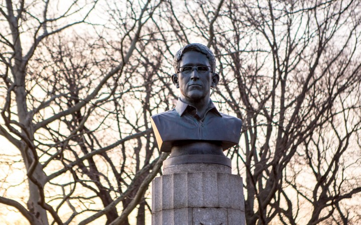 Guerrilla artists leave Edward Snowden statue in New York park