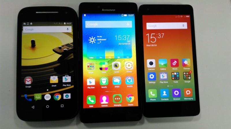 Moto E2 vs Lenovo A6000 vs Xiaomi Redmi 2