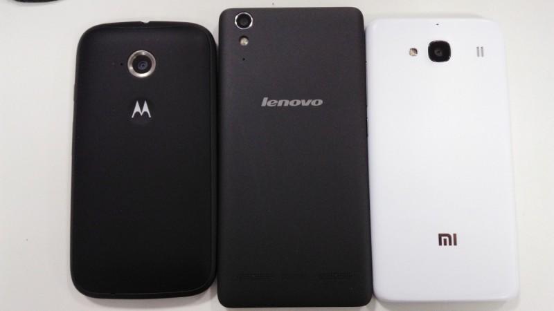 Moto E2 vs Lenovo A6000 vs Xiaomi Redmi 2- back panels
