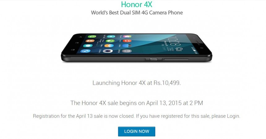 Huawei Honor 4X Flipkart Flash Sale 3.0 to Go Live on 13 April