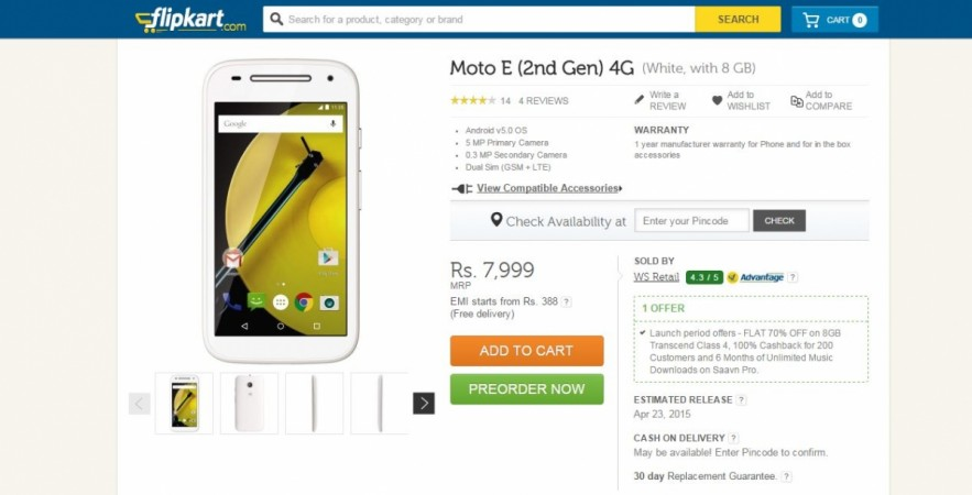 Motorola Moto E (2 Gen) 4G-LTE Pre-Order Service Goes Live on Flipkart; Price, Specifications