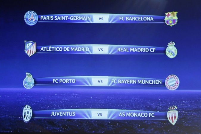 Champions League quarter-final draw results