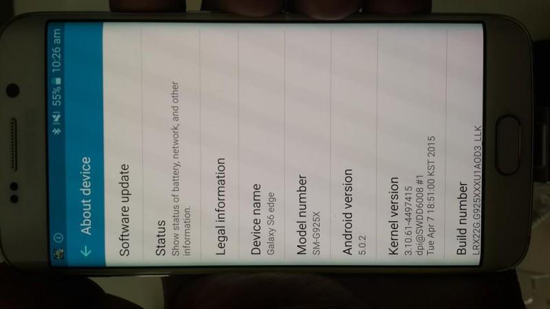 Samsung Galaxy S6 Edge Build Number