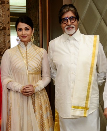 Aishwarya Rai Bachchan and Amitabh Bachchan during the inauguration of Kalyan Jewellers