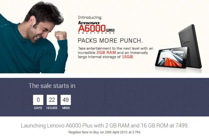 Lenovo A6000 Plus Flipkart Flash Sale to go Live on 28 April; 1 lakh Units up for Grabs