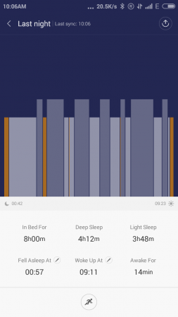 Sleep Tracking report in Mi Fit