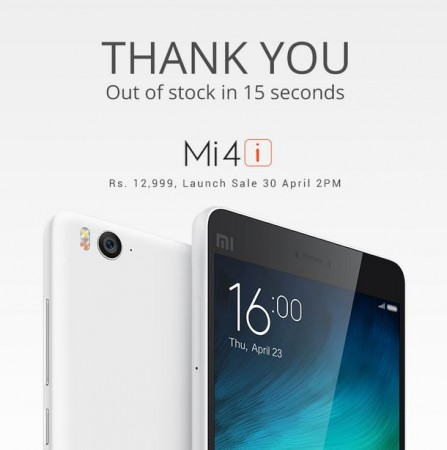 Xiaomi Mi 4i Flash Sale 1.0 Report: 40,000 Units Sold Out in 15 Seconds; Registration Window for Next Week Sale to Open Soon