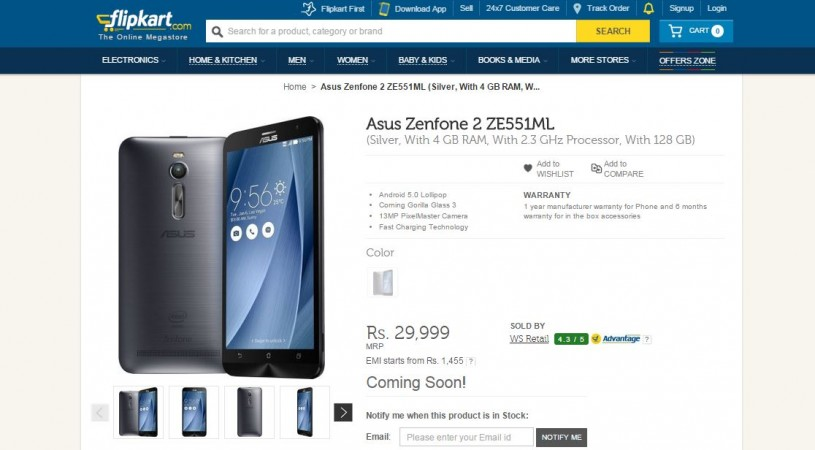New Asus Zenfone 2 with 128GB Memory India Price Revealed; To Hit Flipkart e-Store Soon