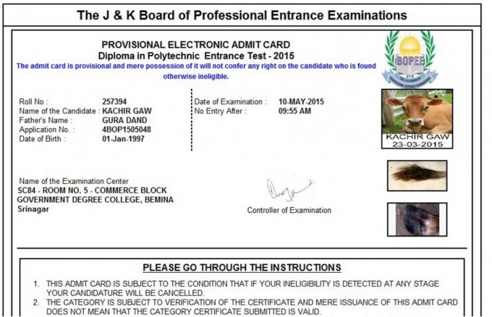 Board of Professional Entrance Examinations admit card cow